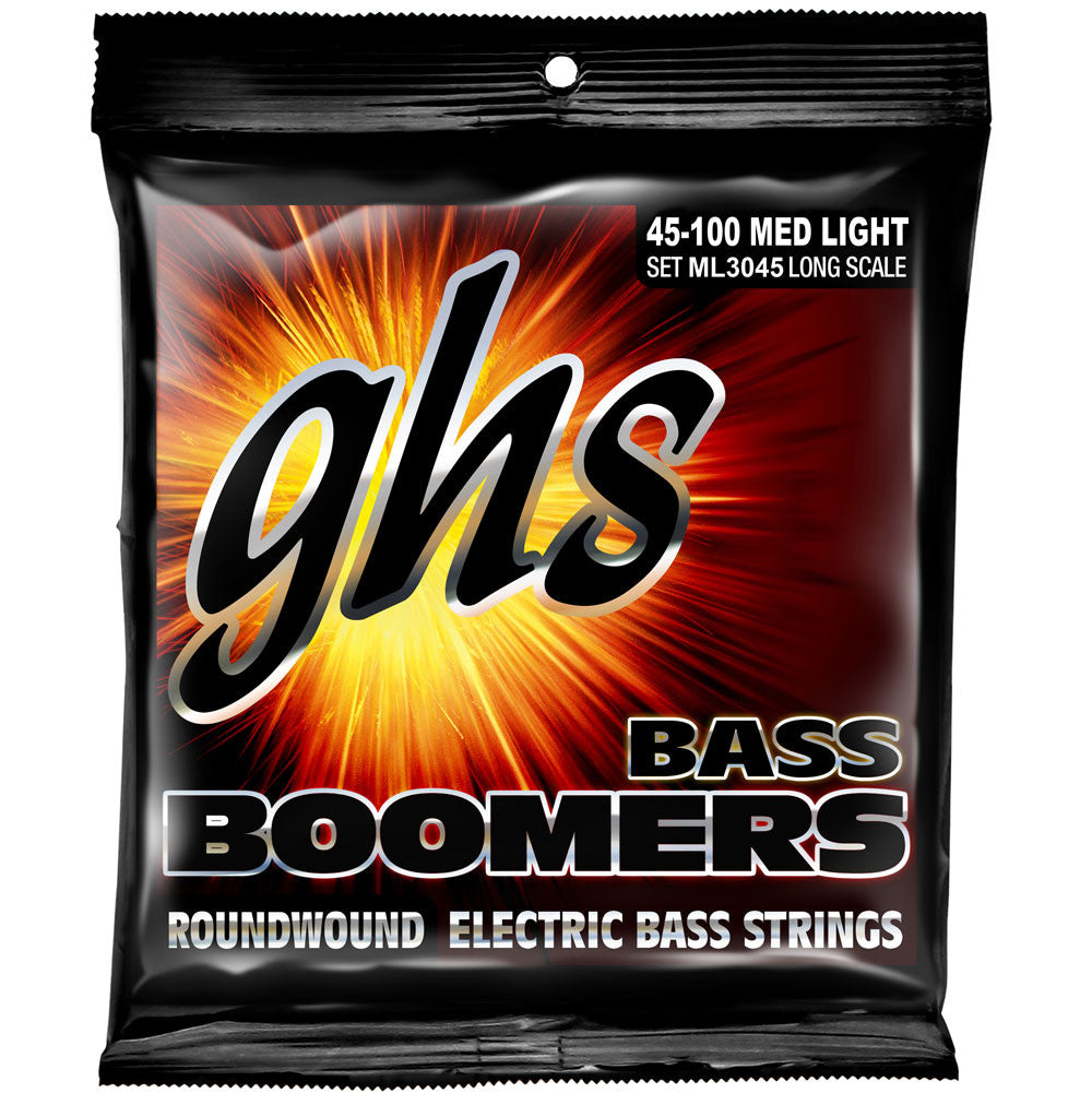 GHS ML3045 Boomers Medium Light 45-100 Roundwound Bass Guitar Strings