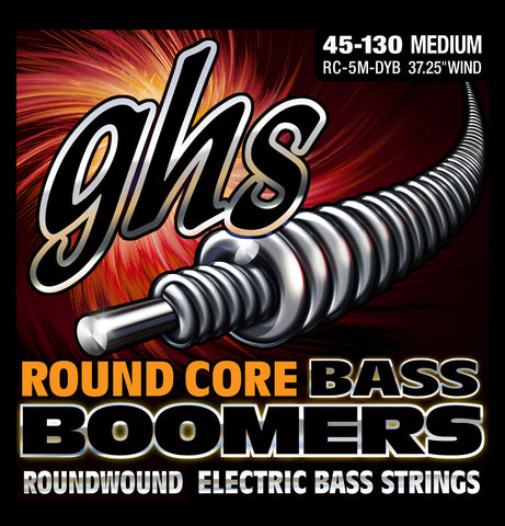 GHS 5-String Round Core Nickel Plated Boomers Medium 45-130 Bass Guitar Strings (RC-5M-DYB)