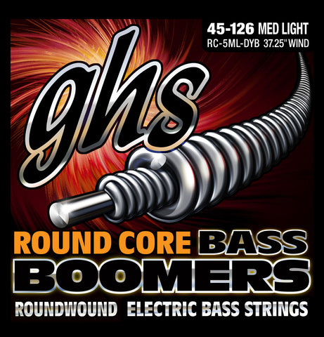 GHS 5-String Round Core Nickel Plated Boomers Medium Light 45-126 Bass Guitar Strings (RC-5ML-DYB)