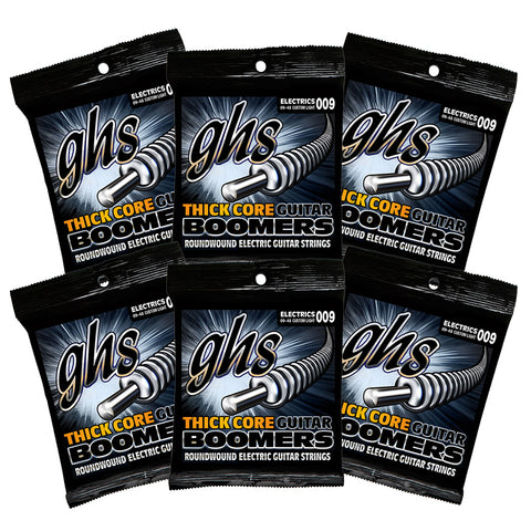 6 Sets GHS Thick Core Boomers Custom Light HC-GBCL 9-48 Electric Strings