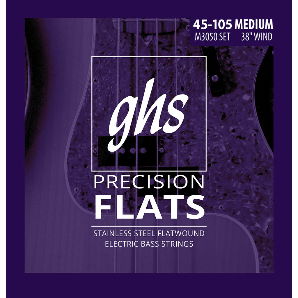 GHS M3050 Stainless Steel Flatwound Medium 45-105 Bass Guitar Strings