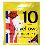 2 Pack Rotosound R10 Roto Yellows Regular 10-46 Electric Guitar Strings