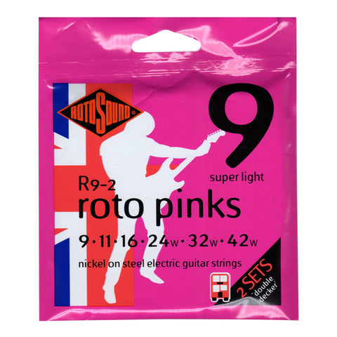 2 Pack Rotosound R9 Roto Pink Super Light 9-42 Electric Guitar Strings