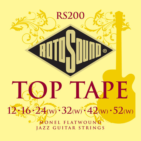 Rotosound RS200 Jazz 12-52 Top Tape Monel Flatwound Electric Guitar Strings