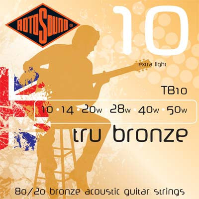 Rotosound TB10 Tru Bronze Extra Light 10-50 Acoustic Guitar Strings