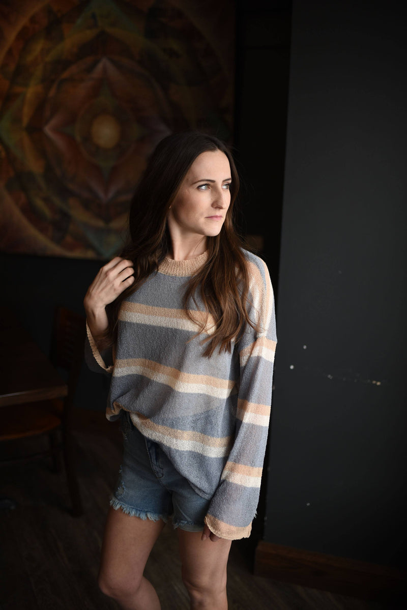 Wind Down Spring Sweater- Dusty Blue