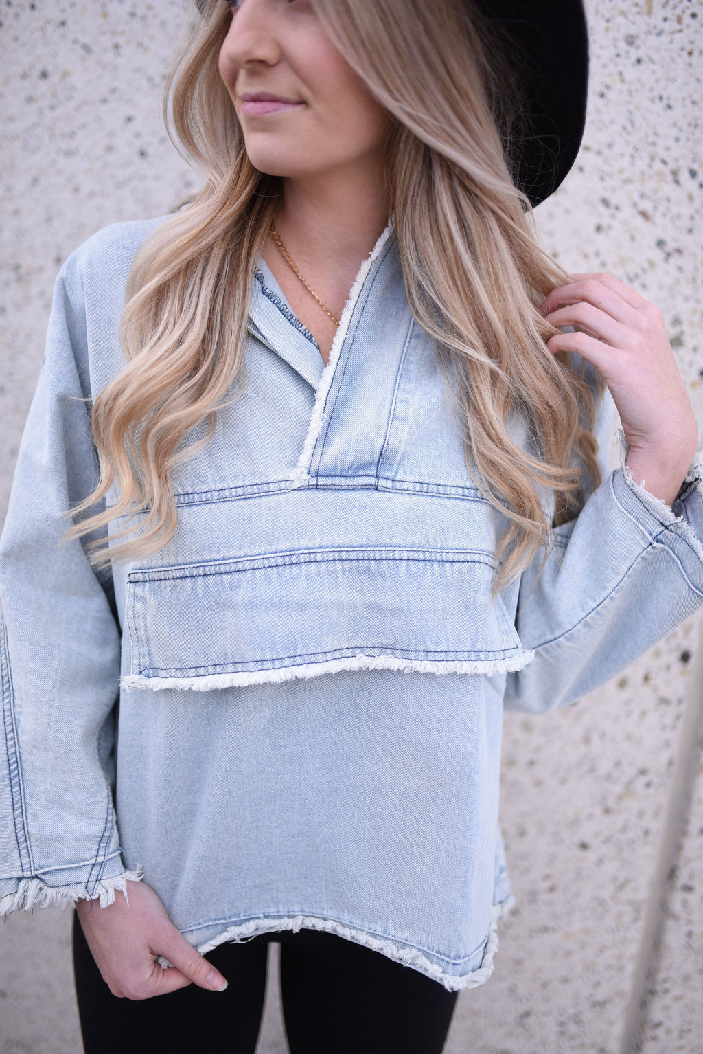 Distressed Denim Pullover