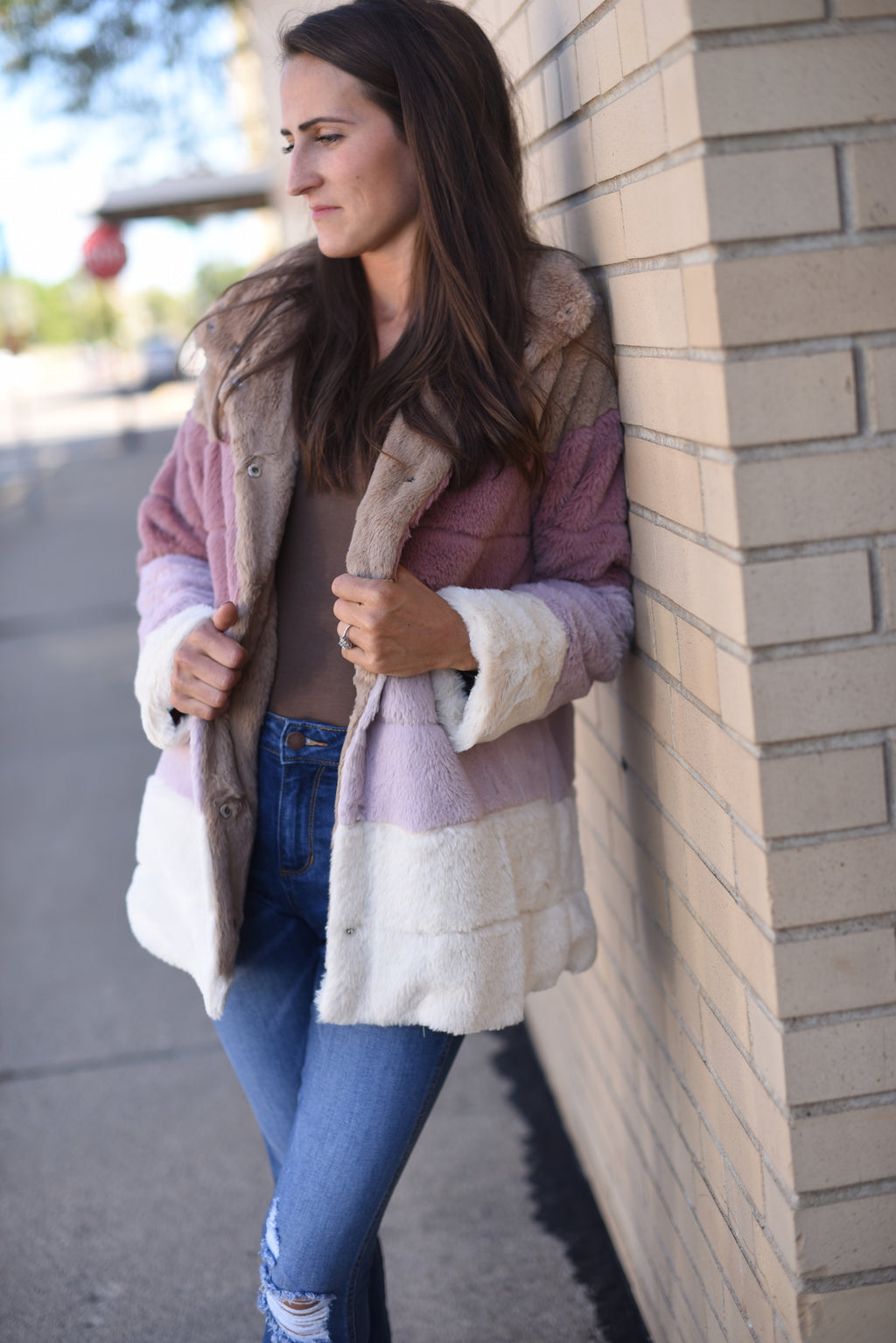 Blushes Block Fur Jacket