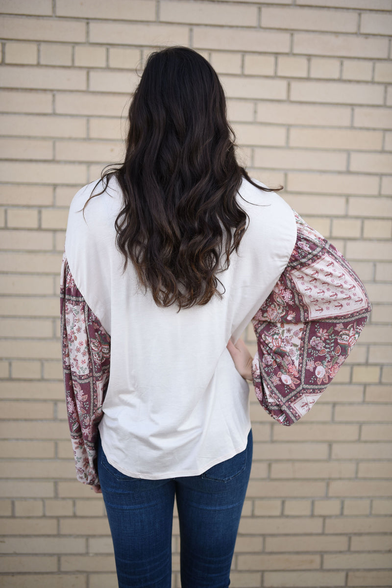 If Only Print Sleeve Top