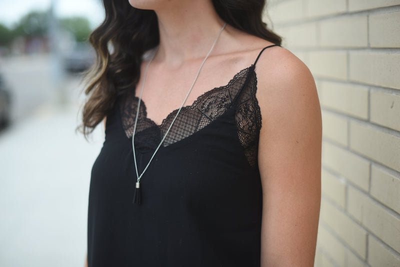 Lovely Lacey Tank - Black