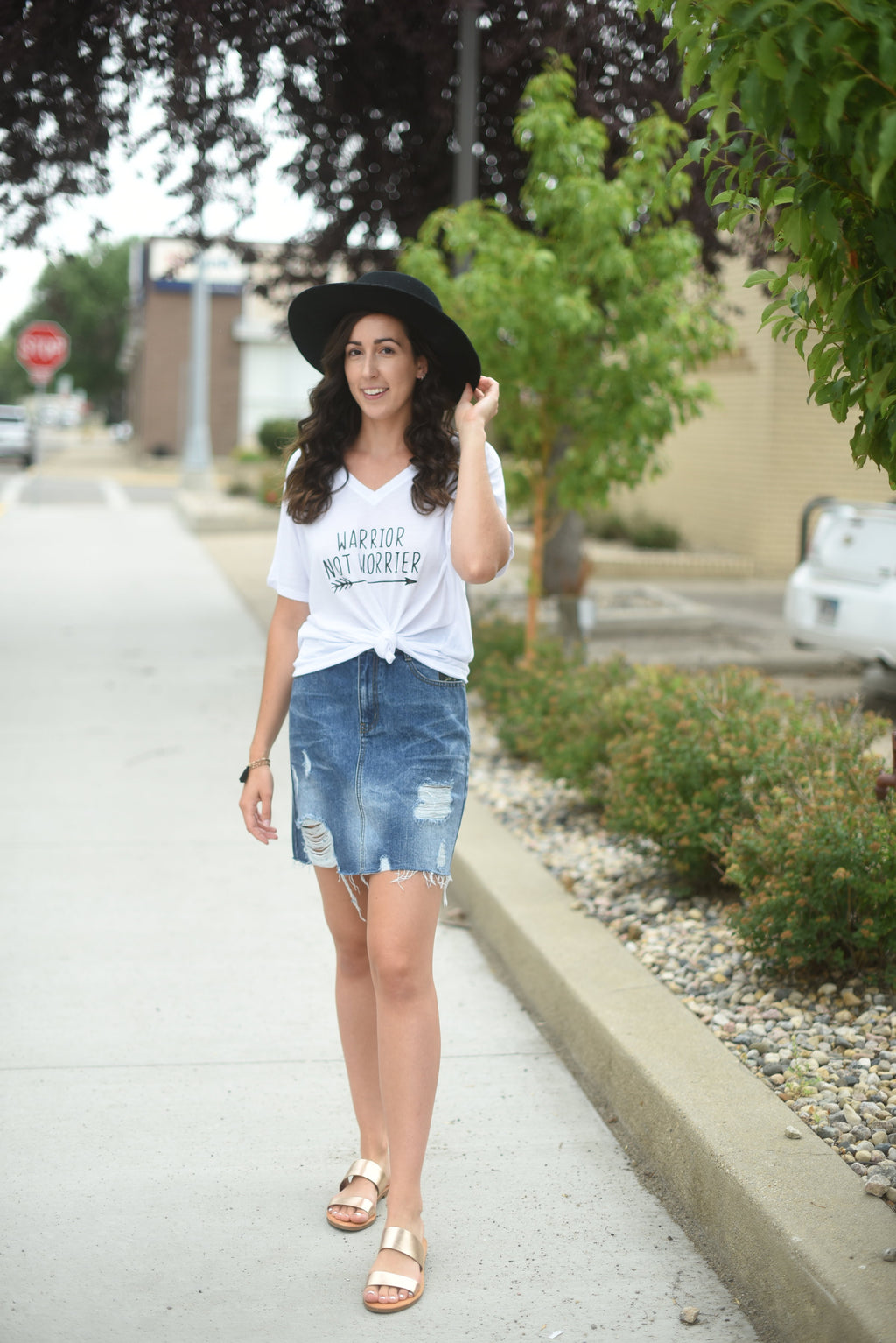 Distressed Denim Skirt