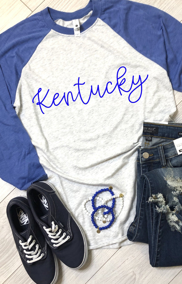Kentucky Script Baseball Tee - Royal