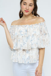 Ginger Floral Top - Blue