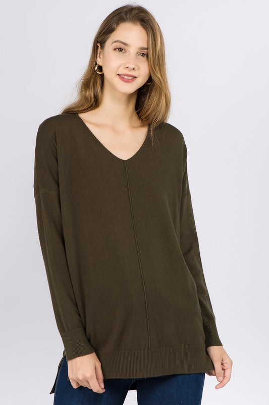 Wendy Basic Sweater Top - Olive