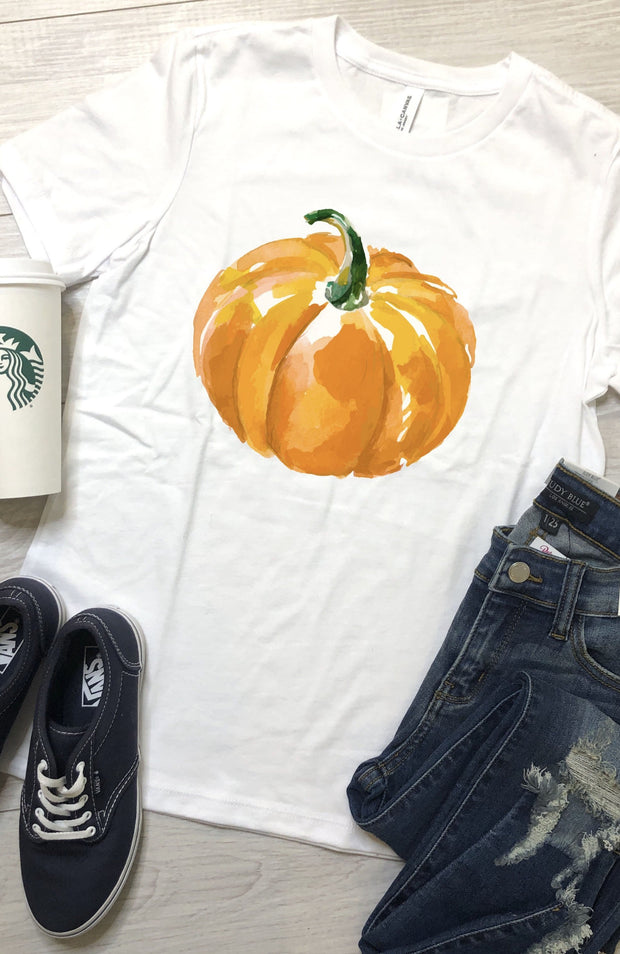 Watercolor Pumpkin Tee - White