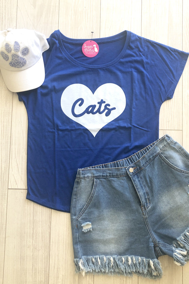 Cats Heart Tee - Blue