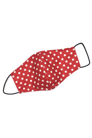 Reusable Cotton Face Mask - Red & White Dot
