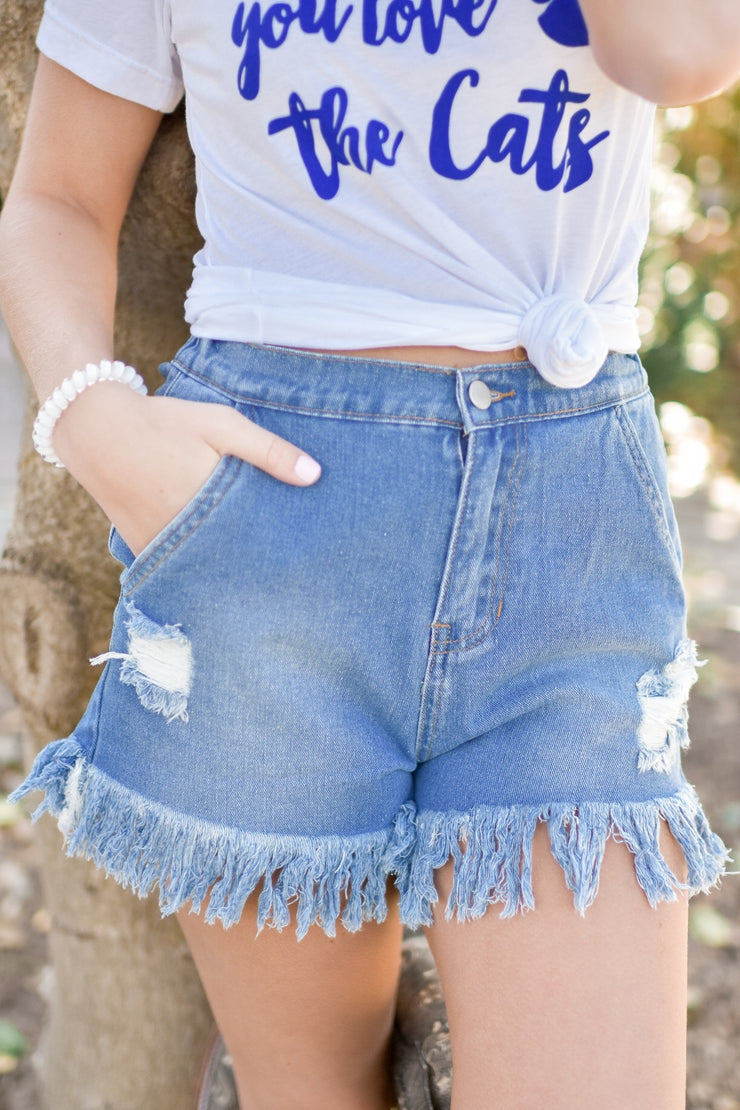 Mindy Fringe Hem Shorts w/ Elastic - Denim