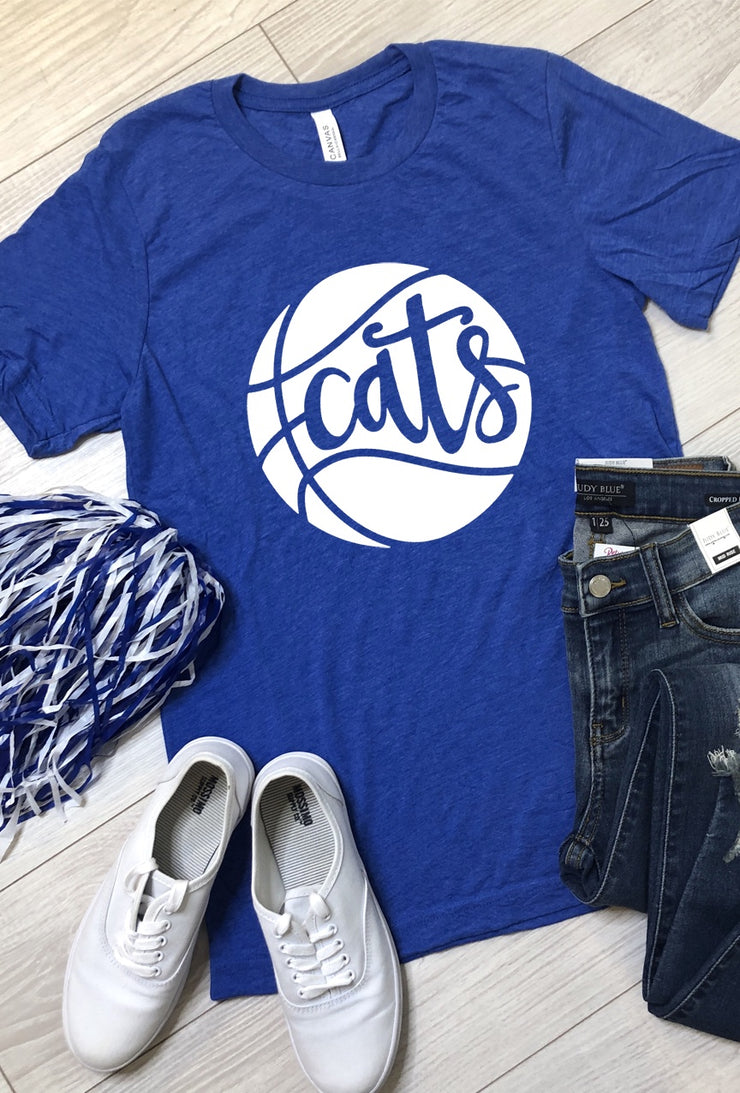 Cats Basketball Tee - Royal Blue