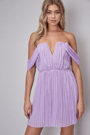 Viv Pleated Dress - Lavender - FINAL SALE