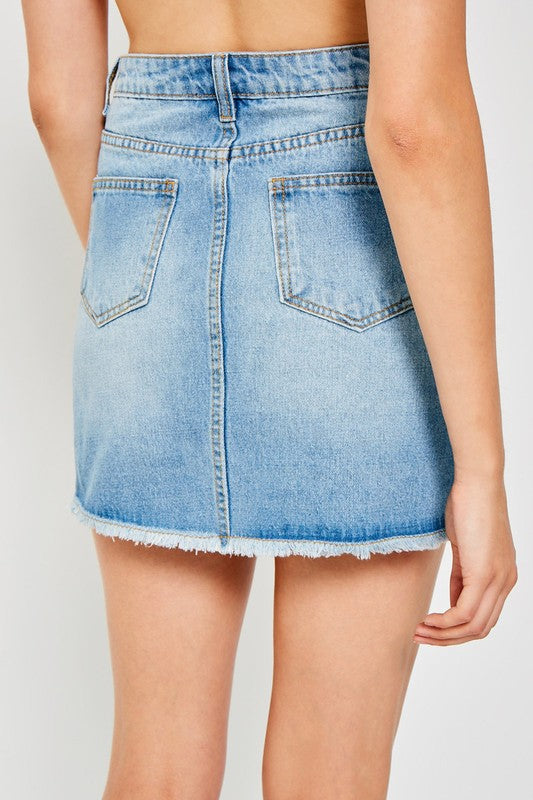 Pauline Wrap Front Skirt - Medium Denim - FINAL SALE