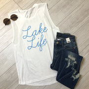 Lake Life Tank - White - FINAL SALE
