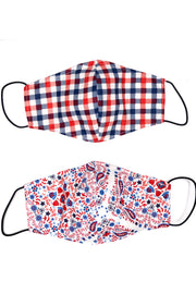 Reversible Cotton Face Mask - Patriotic Plaid & Paisley