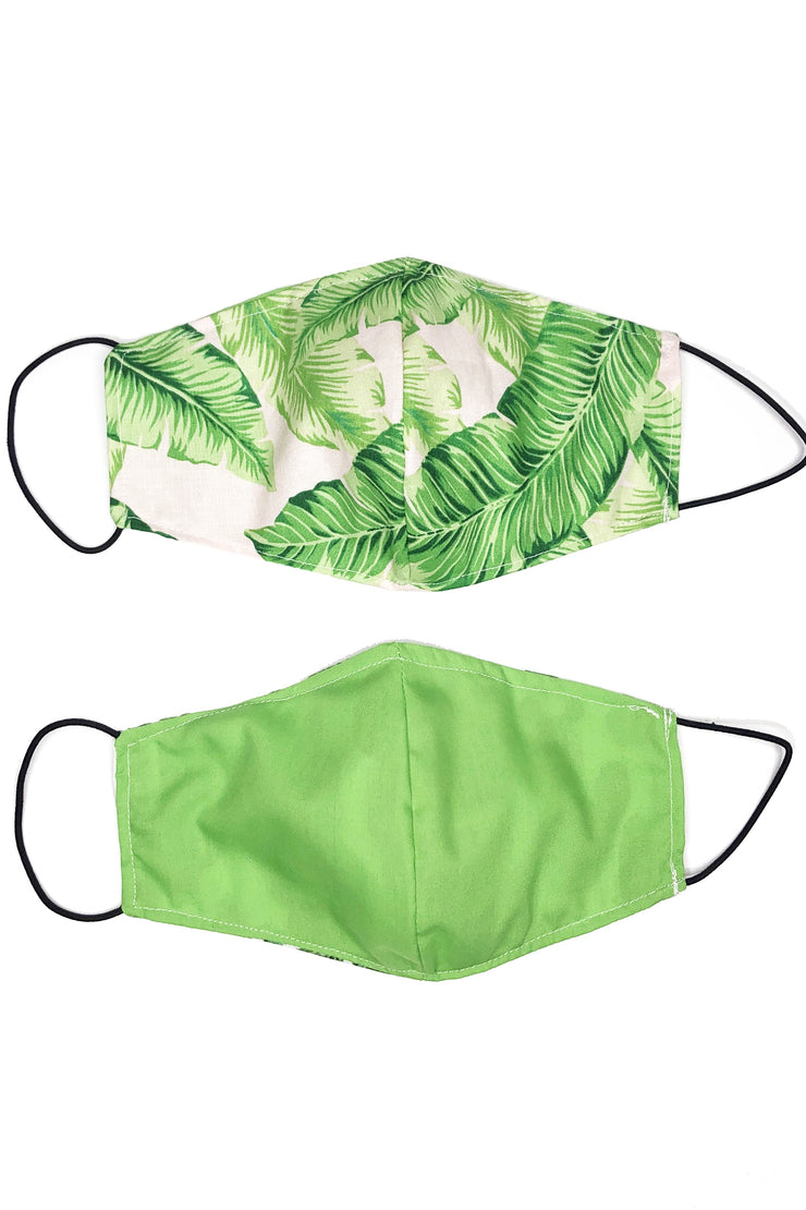 Reversible Cotton Face Mask - Palm Leaves & Green