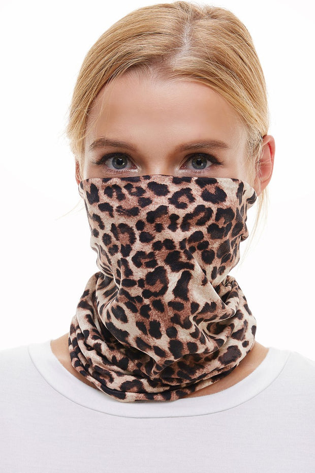 Neck Scarf Face Covering - Leopard
