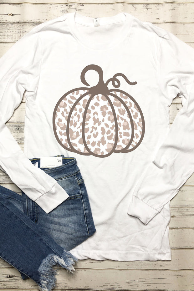 Leopard Pumpkin LS Tee - Neutral