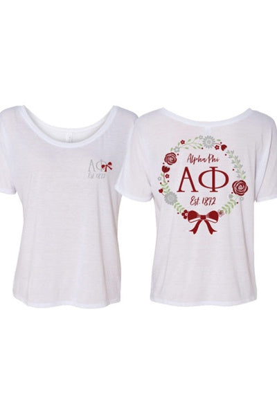 Alpha Phi Floral Wreath Tee - FINAL SALE