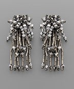 Multi Bead Drop Earrings - Silver