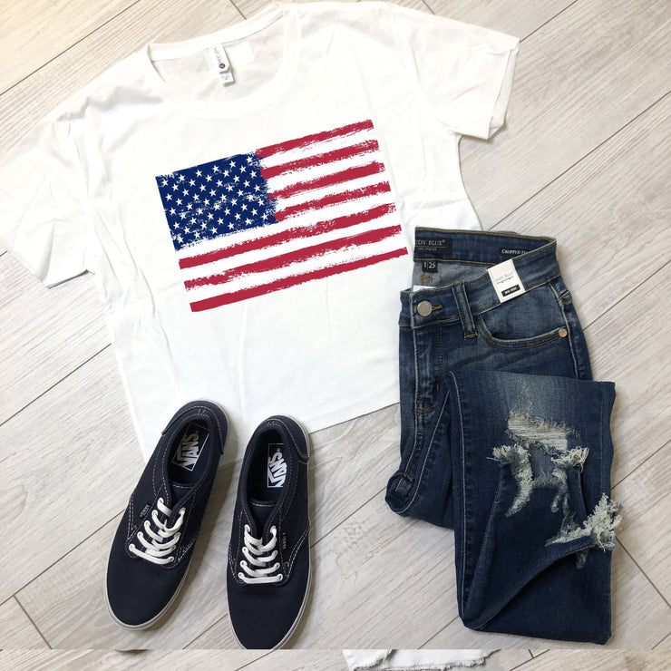 Vintage Flag Crop Tee - White