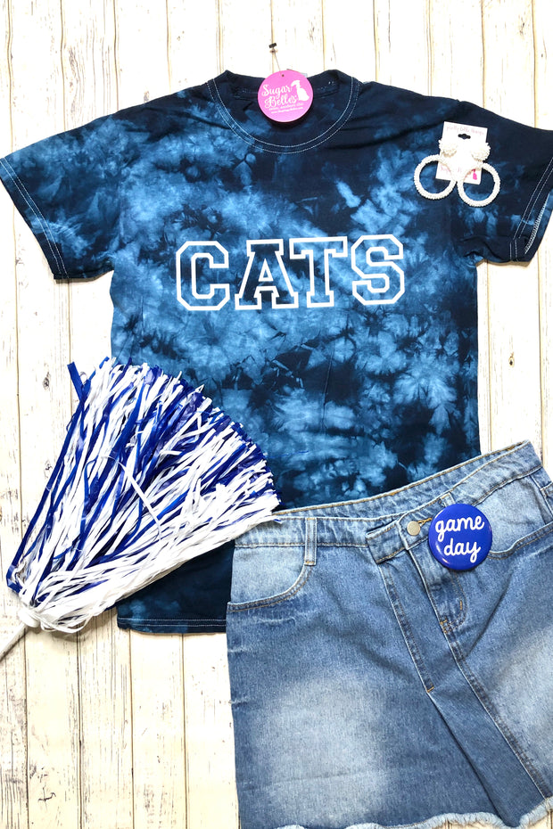 CATS Collegiate Tee - Navy Tie Dye