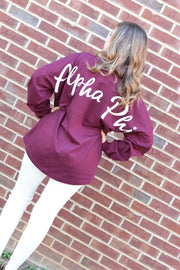 Alpha Phi Script Jersey Sweatshirt - FINAL SALE
