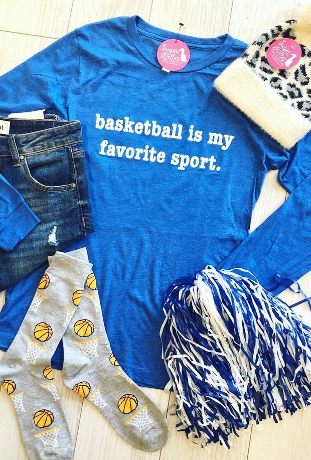 Basketball is my favorite sport LS Tee - Royal Blue