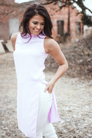 Lavender Mock Neck High Slit Tunic Top - FINAL SALE