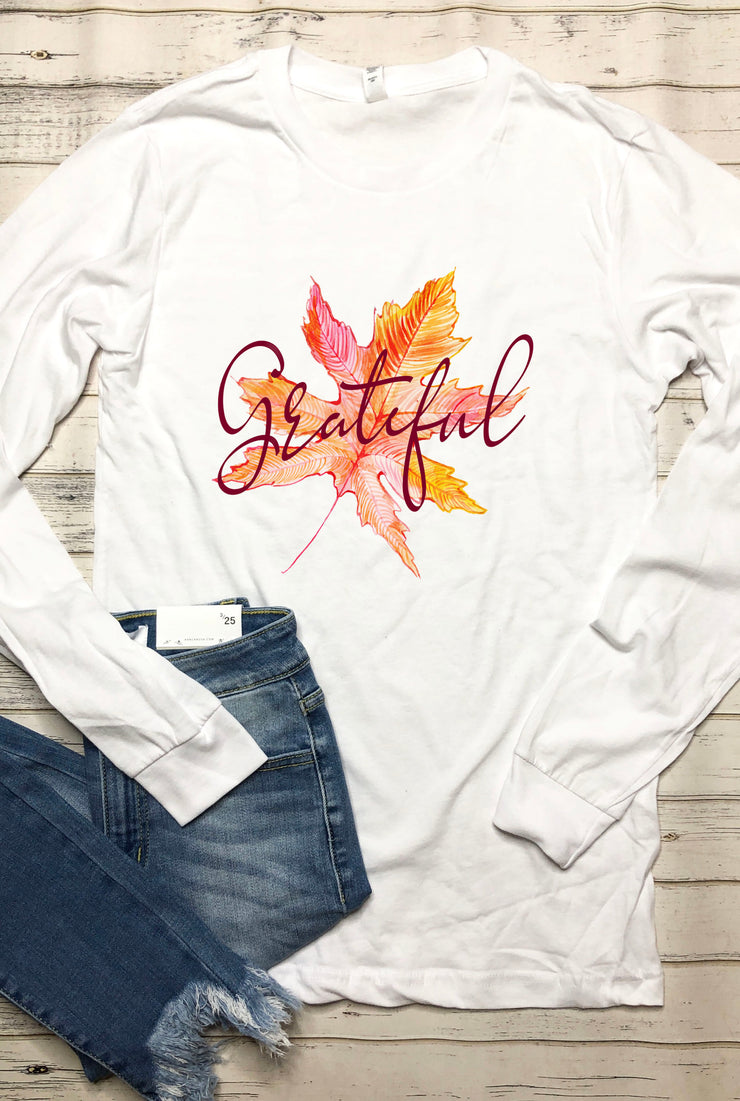Grateful Leaf Long Sleeve Tee - White - FINAL SALE