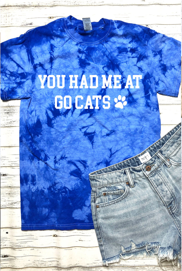 You Had Me At Go Cats Tee - Blue Tie Dye