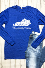 Merry Kentucky Christmas Long Sleeve Tee - Blue - FINAL SALE