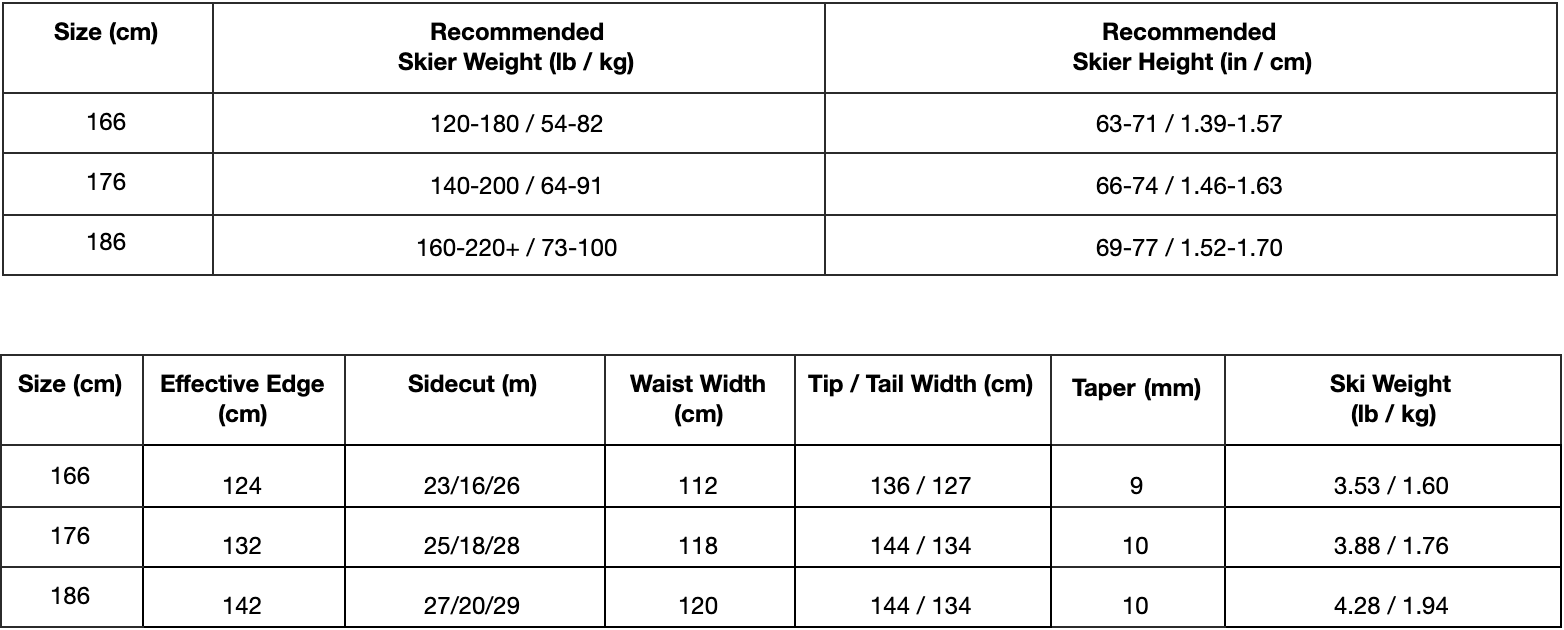 Grizzly Ski Sizing Chart and Spec Table