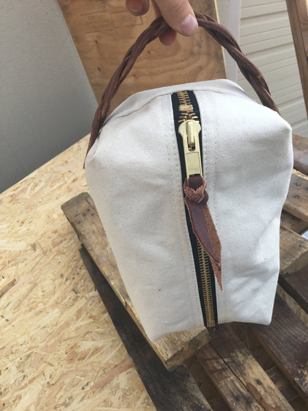 This J bar D Canvas and Leather Shave/Cosmetic Canvas Bag is built for your cosmetic supplies.