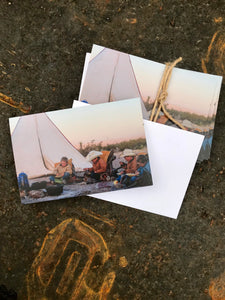 Packs of twelve greeting cards, with envelopes included, made from heavy cardstock.