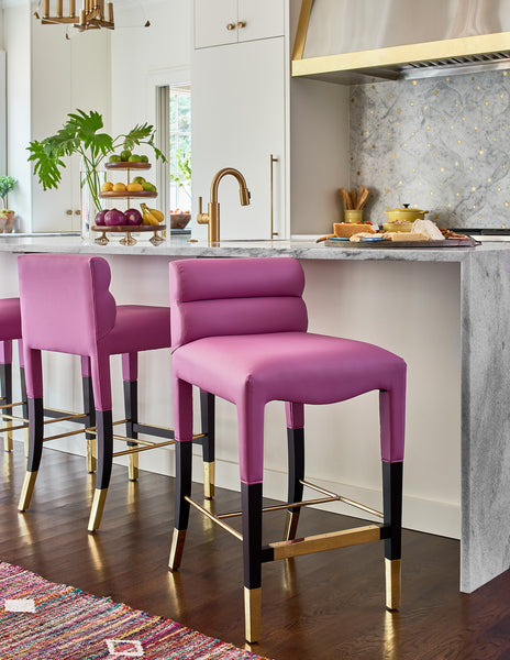 Dowel Furniture Gardner Counter Stools in The English Room's One Room Challenge Reveal of her kitchen (Photo by: Dustin Peck Photography)