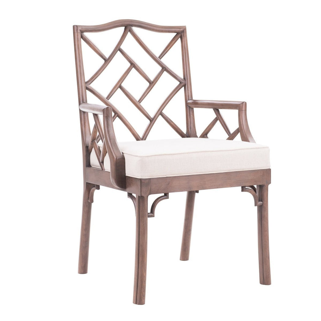 James Chinese Chippendale Arm Chair - COM - Dowel Furniture