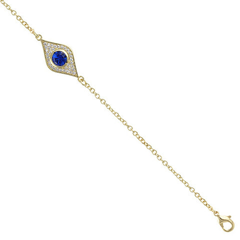 GOLD SAPPHIRE EVIL EYE BRACELET CZ DIAMONDS FASHION JEWELRY