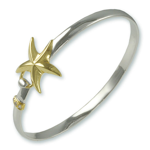 2 TONE SEALIFE OCEAN STARFISH BANGLE BRACELET SUMMER JEWELRY