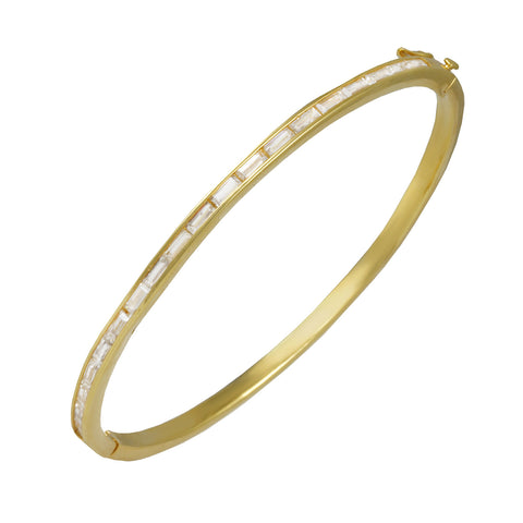 GOLD BAGUETTE DIAMOND BANGLE BRACELET FASHION JEWELRY