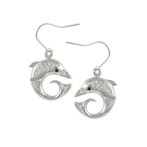 SILVER DIAMOND DOLPHIN EARRINGS FASHION JEWELRY