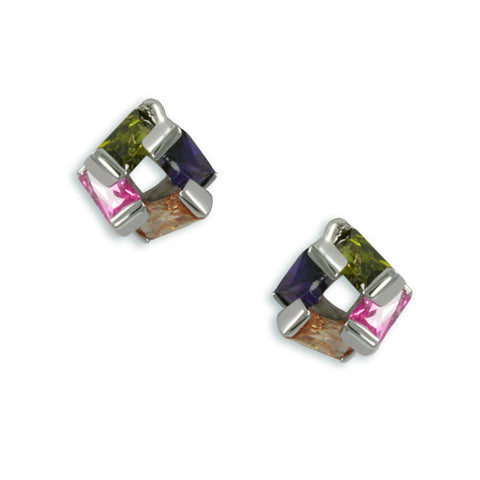 MULTI STONE STUD EARRINGS EMERALD CHAMPAGNE FASHION JEWELRY